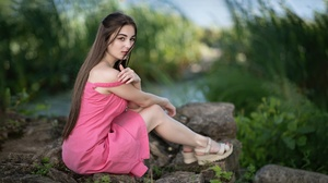 Model Women Pink Dress Sitting Women Outdoors 2400x1349 Wallpaper