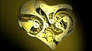Clocks Clockworks Gears Screw Heart Digital Art CGi Gradient Minimalism 2560x1600 Wallpaper