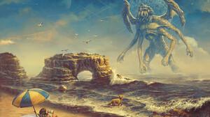 Josh Guglielmo Cthulu Cosmic Horror Beach Dog 1512x1080 wallpaper