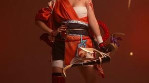 Women Model Cosplay Indoors Women Indoors Short Hair Blonde Red Clothing Weapon Tattoo Yoimiya Gensh 1333x2000 Wallpaper