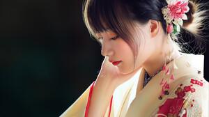 Huy Ozuno Flowers Flower In Hair Women Dark Hair Japanese Digital Art Touching Face Artwork Looking  1920x1937 Wallpaper