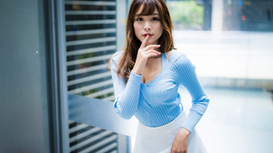 Asian Model Women Long Hair Brunette Depth Of Field White Skirt Blue Shirt Window Finger On Lips 4562x3042 Wallpaper