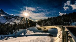 Sunrise Winter 2048x1128 wallpaper