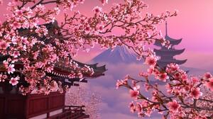 Cherry Blossom Pagoda Sakura 1920x1080 Wallpaper