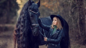 Child Depth Of Field Girl Hat Horse Leather Jacket 2000x1335 Wallpaper