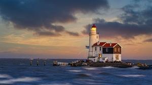 Building Horizon Lighthouse Netherlands Sky 2580x1721 Wallpaper