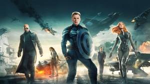 Nick Fury Black Widow Bucky Barnes Steve Rogers 2560x1440 Wallpaper