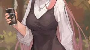 Anime Girls Portrait Display Original Characters Coffee Dress Hat Long Hair Pink Hair Pink Eyes Wink 2560x4096 Wallpaper