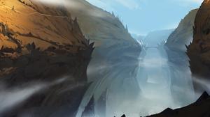 Bridge Canyon Fog Landscape 4375x2157 Wallpaper