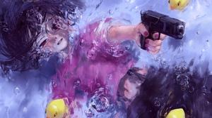Anime Girls Original Characters Water Pistol Gun Hatena 3200x1907 Wallpaper