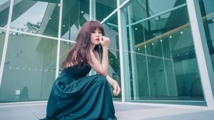 Asian Brunette Girl Green Dress Lipstick Long Hair Model Woman 4562x3043 Wallpaper