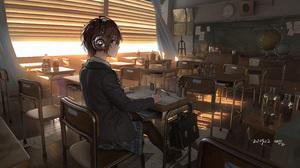 Anime Anime Girls Brunette School Uniform Headphones Classroom Brown Eyes Writing Kryp132 3200x1600 Wallpaper