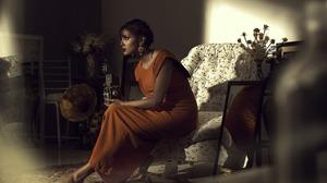 Brunette Camera Chair Earrings Lipstick Mirror Model Orange Dress Vintage Woman 1600x1066 Wallpaper