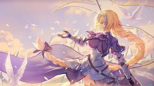 Bird Blonde Blue Eyes Braid Chain Fate Grand Order Feather Jeanne D 039 Arc Fate Series Long Hair Ru 3200x1800 Wallpaper