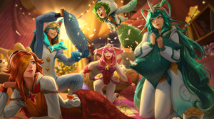 Ahri League Of Legends Ezreal League Of Legends League Of Legends Lulu League Of Legends Miss Fortun 3000x1794 wallpaper