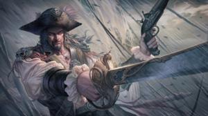 Gun Hat Man Pirate Rain Sword Warrior 2000x1219 Wallpaper