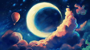 Balloon Drawing Moon Night 3000x2250 Wallpaper
