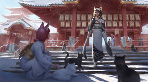 Artwork Fantasy Art Women Asian Architecture Asian Architecture Traditional Clothing Cats Cat Girl 3840x2160 Wallpaper