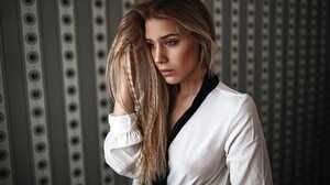 Heiko Klingele Photography Model Women Blonde White Shirt Face 2000x1333 wallpaper