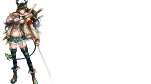 Black Hair Dagger Horns Long Hair Pointed Ears Red Eyes Sword Tail 2760x1760 Wallpaper