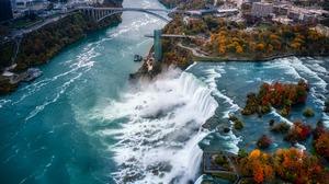 Niagara Falls Waterfall Fall Bridge Aerial View 5228x2941 Wallpaper
