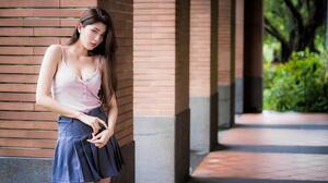 Asian Model Women Long Hair Brunette Column Bricks Skirt Short Tops Leaning Depth Of Field Bushes 1920x1279 Wallpaper