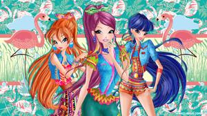 Bloom Winx Club Musa Winx Club Roxy Winx Club Girl Long Hair Red Hair Purple Hair Two Toned Hair 1920x1080 Wallpaper