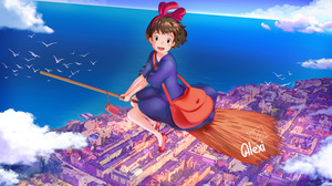 Kikis Delivery Service Outdoors City Flying Anime Witch Clouds Alexi Ansell 9000x6000 Wallpaper