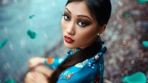 Asian Black Hair Brown Eyes Gioia Li Girl Lipstick Long Hair Model Woman 2048x1365 Wallpaper