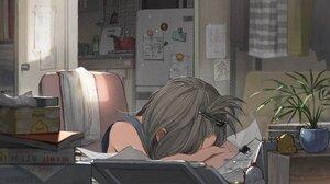 Anime Anime Girls Barrette Grey Hair Flowerpot Room Sleeping Chair Door Dress Books Napkin Fridge Pa 2048x1157 Wallpaper