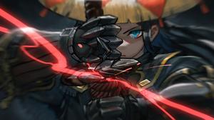 Anime Anime Girls Digital Art Artwork Portrait ALGAE 00 Monster Hunter Black Hair Blue Eyes Armor Sw 3508x1910 Wallpaper