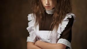 Maxim Maximov Women Ksenia Kokoreva Brunette Looking At Viewer Long Hair Simple Background Apron Han 1363x2048 Wallpaper