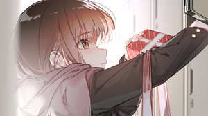 Anime Anime Girls Brown Eyes Long Hair Gift Scarf Brunette Looking Away 4800x2700 Wallpaper