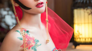 Asian Women Glamour Red Clothing Shawl Makeup Red Lipstick Jewelry Tattoo Indoors 1280x1920 Wallpaper