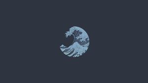 The Great Wave Off Kanagawa Japan Waves Minimalism Artwork Simple Background Asia 3840x2160 Wallpaper