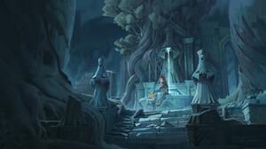 Jef Wu Digital Art Fantasy Art Statue Forest Ruins 3840x2146 Wallpaper