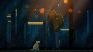 Backpack Dog Rain 2560x1440 Wallpaper