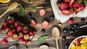 Berry Blueberry Fruit Still Life Strawberry 4224x3168 Wallpaper