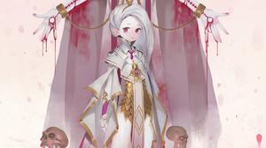 Anime Anime Girls Midfinger Original Characters Skull Angel Wings Nimbus Vertical 3011x4751 Wallpaper