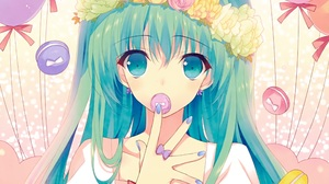 Long Hair Blue Hair Blue Eyes Ribbon Flower Twintails 2472x2080 Wallpaper