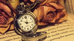 Antique Flower Pocket Watch Rose Watch 1920x1080 Wallpaper
