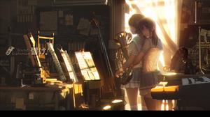 Hibike Euphonium Oumae Kumiko Kousaka Reina Musical Instrument Anime Anime Girls Hugging School Unif 1920x1080 Wallpaper