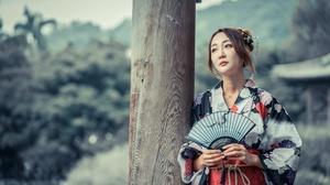 Asian Brunette Depth Of Field Fan Girl Kimono Model Woman 4500x3002 Wallpaper