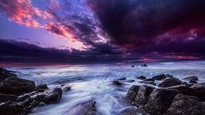 Cloud Horizon Ocean Purple Rock Sea 1810x1185 wallpaper