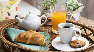 Coffee Cup Juice Croissant Viennoiserie Still Life 6016x4011 Wallpaper