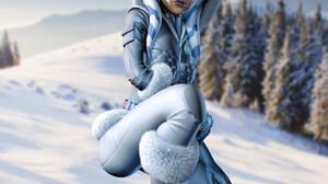 Ahsoka Tano Star Wars Star Wars Heroes Jedi Snow Winter Cold Looking Away Science Fiction CGi Render 1920x1920 Wallpaper