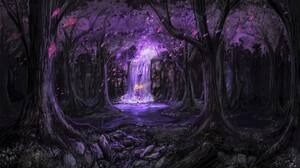 Blonde Fairy Forest Magical Purple Tree 4881x2865 Wallpaper