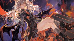 Anime Anime Girls Noir Artist Demon Horns Black Wings Blonde Long Hair Orange Eyes Black Nails 1500x1061 wallpaper