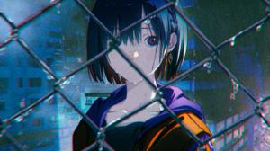Anime Anime Girls Rain Water Drops Blue Hair Blue Eyes Earring Short Hair City Serial Experiments La 3840x2160 Wallpaper