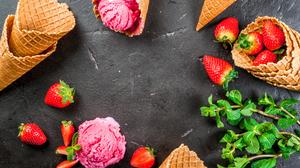 Ice Cream Still Life Strawberry Waffle Cone 3872x2592 Wallpaper